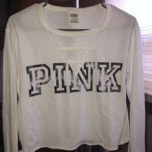 Women's PINK long sleeve crop top